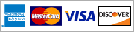 Credit cards: American Express, MasterCard, Visa and Discover